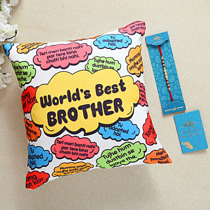 Pearl Rakhi And Worlds Best Brother Cushion