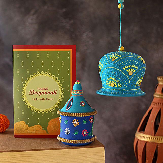 Gharonda Diya And Bell With Diwali Greeting Card:Send Sweets to Australia