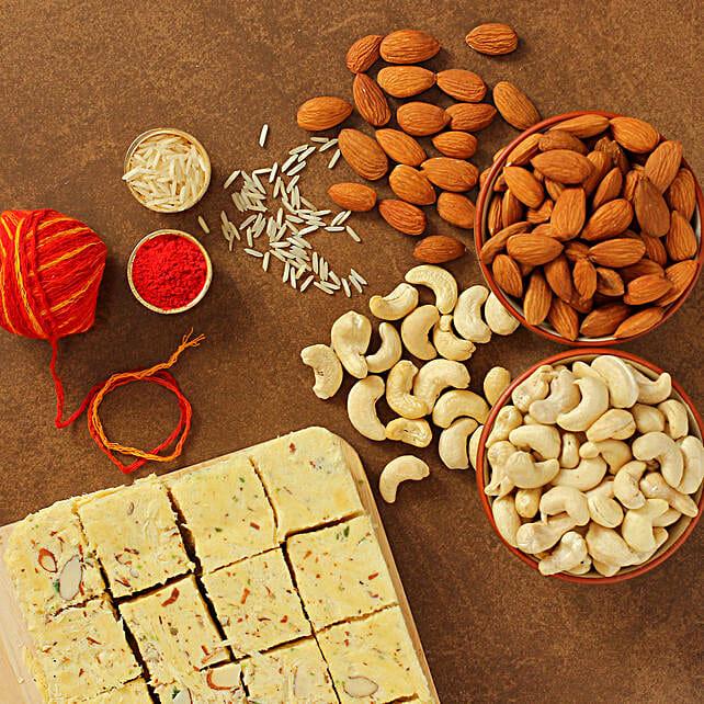 Bhai Dooj Festivity Soan Papdi And Dry Fruits Combo