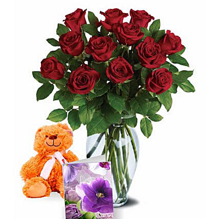 Valentine Roses N Teddy Combo