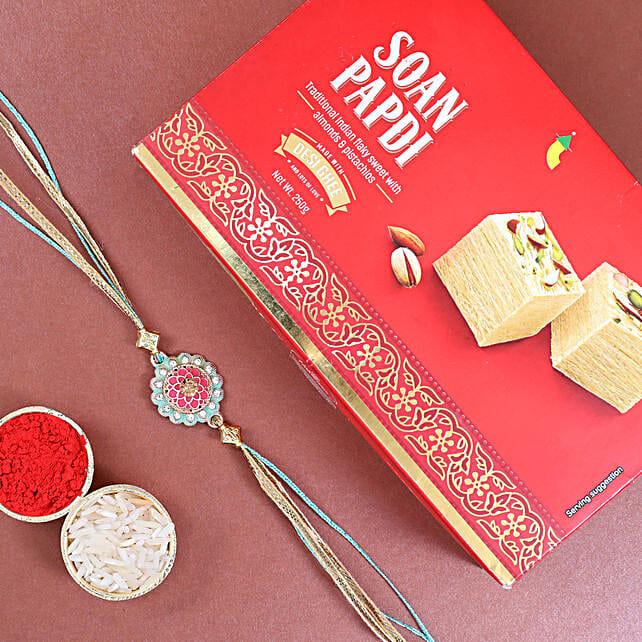 Stylish Rakhi N Soan Papdi Box:Single Rakhi Delivery Austria