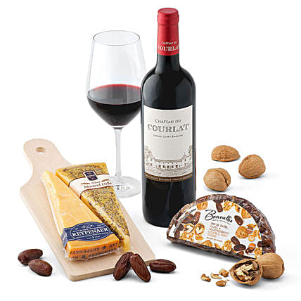 Chateau De Courlat And Wyngaard Dutch Cheese Gift Set:Rakhi Gifts for Sister in Belgium