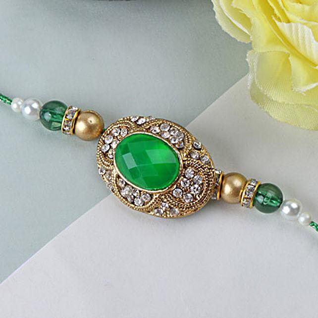 Green Emerald Stone Rakhi BHU