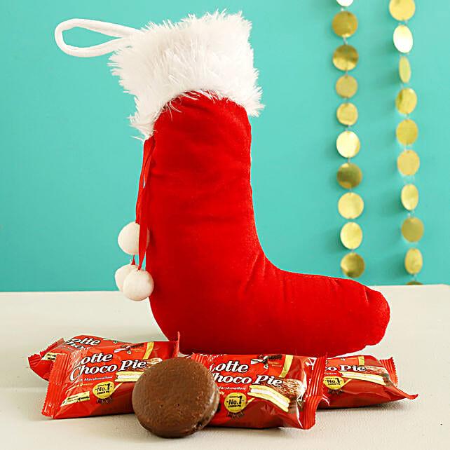 Choco Pie In Furry Red Xmas Stocking
