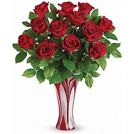 12 Extra Long Stemme Red Roses For Love