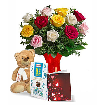 12 Mixed Roses N Teddy Combo:Flowers and Chocolates to Canada