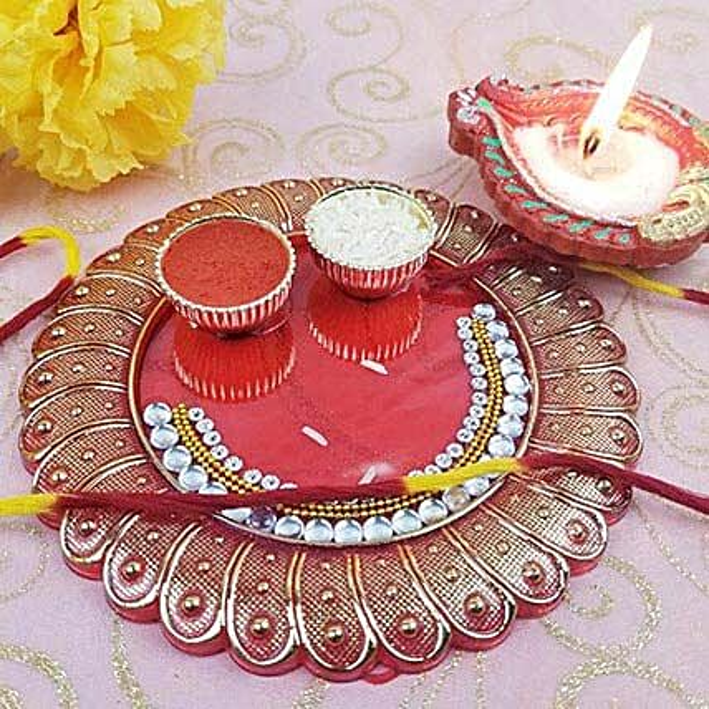 Acrylic Roli Chawal N Diya Thali
