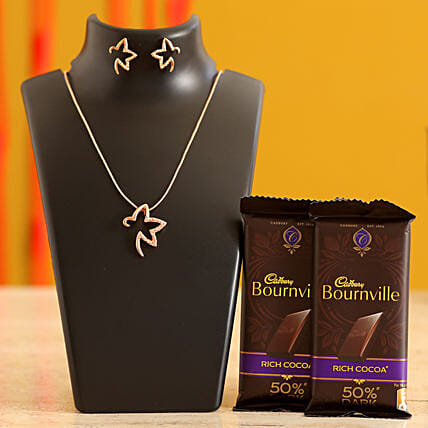 Rose Gold Necklace & Valentines Chocolates for Wife