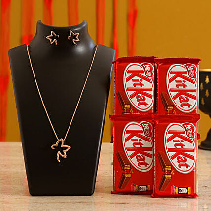 Rose Gold Rose Gold Necklace and Chocolate Valentine Gift Combo