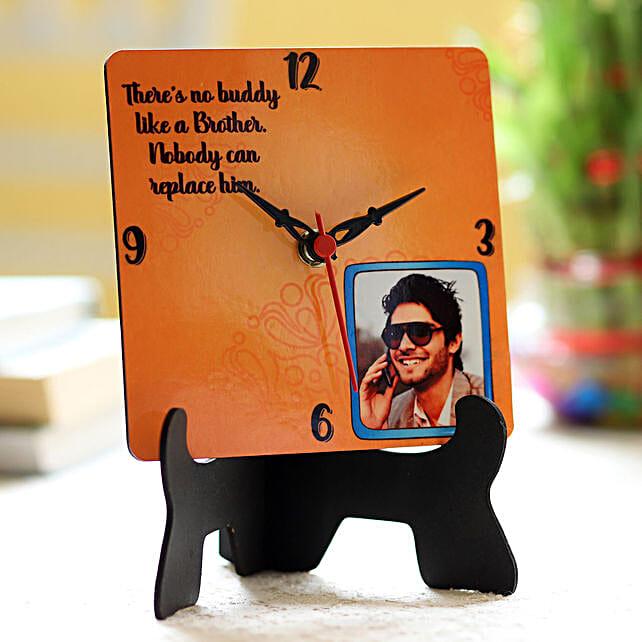photo printed diwali clock for bro on bhai dooj:bhai dooj personalised gifts