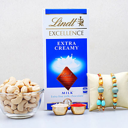 Bhaiya Bhabhi Rakhi With Dry Fruits And Chocolate:Send Bhaiya Bhabhi Rakhi in Canada