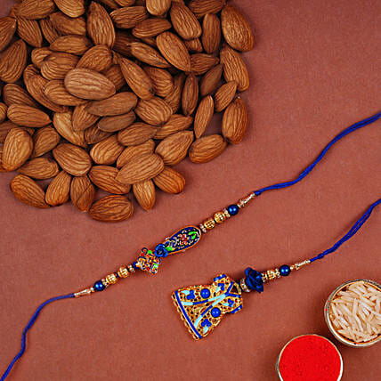 Blue Rakhi Set And Almonds Combo