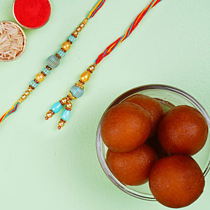 Blue Stone Rakhi Set And Haldiram Gulab Jamun Tin Combo