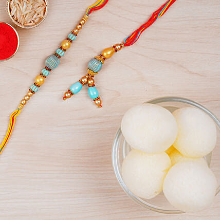 Blue Stone Rakhi Set And Haldiram Rasgulla Tin Combo