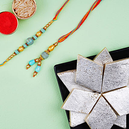 Blue Stone Rakhi Set And Kaju Katli Combo:Rakhi for Bhaiya Bhabhi in Canada