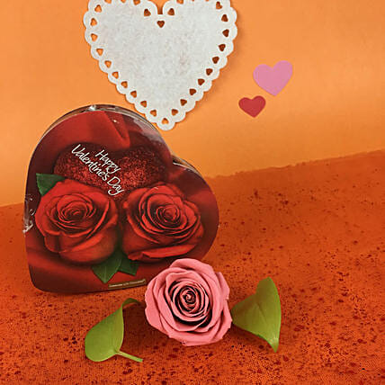 Chocolate Box N Pink Forever Rose:Send Forever Roses to Canada