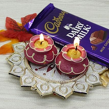 Chocolates And Pooja Thali With Matki Diya Combo:Send Diwali Gifts to Canada