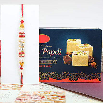Colorful Rakhi With Soan Papdi