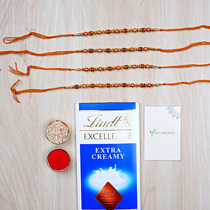Delightful Rakhi And Lindt Chocolate Hamper