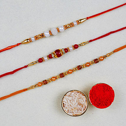 Divine Pearl Thread Rakhis Set Of 3:All Rakhi - Canada