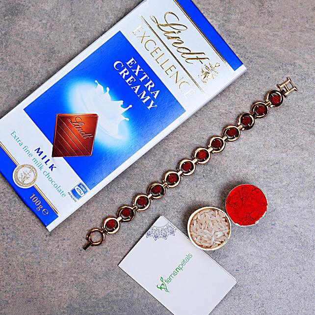 Divine Red Rudraksh Bracelet And Lindt Chocolate