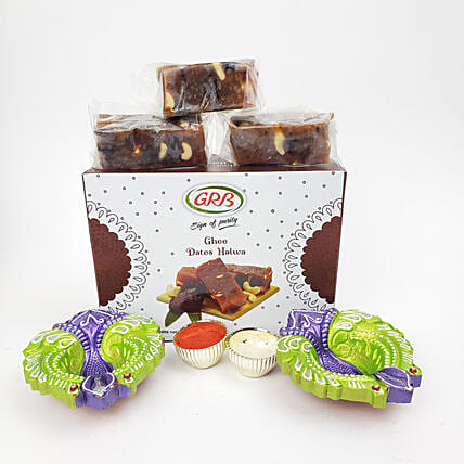 Diwali Diyas And Ghee Dates Halwa Combo