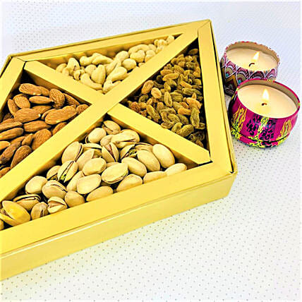 Diwali Rivaaj Scented Diyas And Assorted Dry Fruits:Dry Fruit Delivery in Canada