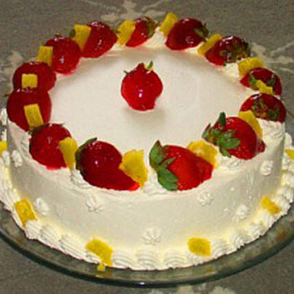 Eggless Pineapple Strawberry Cake