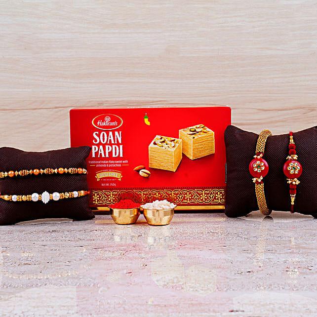 Family Set of 4 Rakhis And Box of Soan Papdi:Family Rakhi Set to Canada