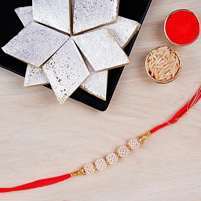Fancy Golden Pearl Rakhi And Kaju Katli:Single Rakhi to Canada