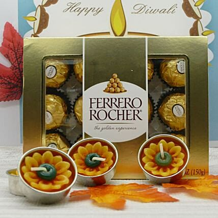 Ferrero Rocher And Flower Diya Combo