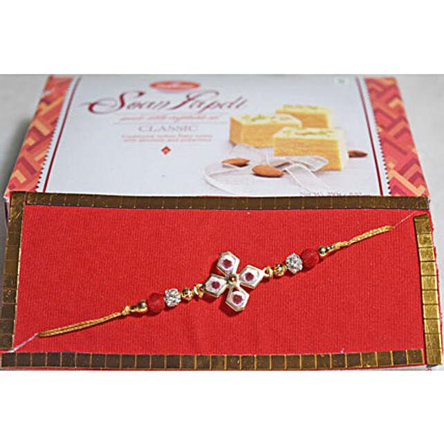 Floral Beads Rakhi N Soan Papdi