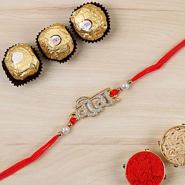 Glittered Veera Hindi Rakhi And 3 Pcs Ferrero Rocher:Rakhi Hampers to Canada