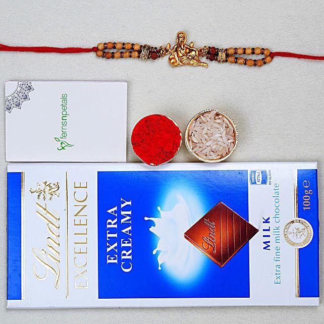 Golden Ganesha Rudraksh Rakhi And Lindt Chocolate
