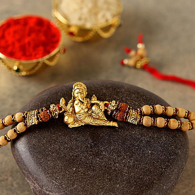 Golden Ganesha Rudraksh Rakhi