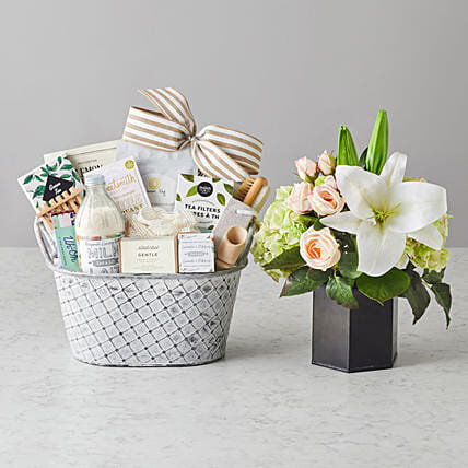 Happy Mothers Day Amelia Faux Flowers And Spa Hamper