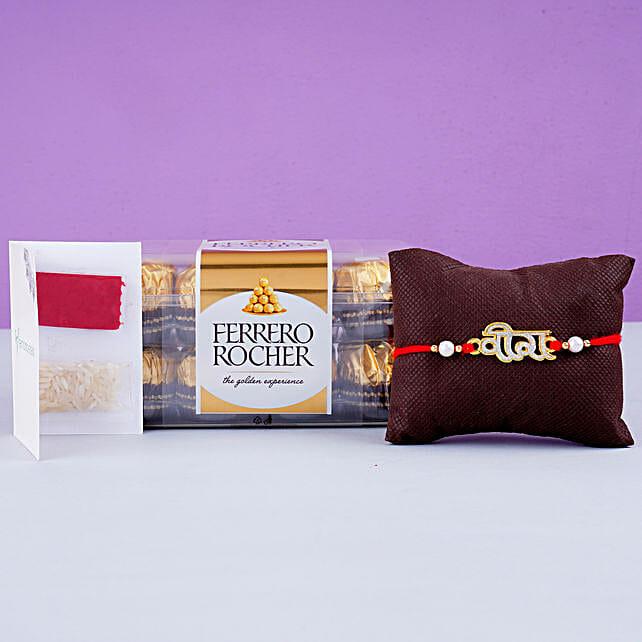 Hindi Veera Rakhi And 12 Pcs Ferrero Rocher