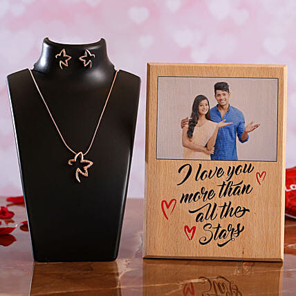 I Love You Personalised Plaque Necklace Set