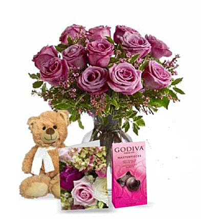 Lavender Roses with Teddy N Chocolate