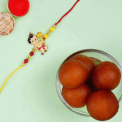 Metal Bal Hanuman Kids Rakhi And Haldiram Gulab Jamun Tin