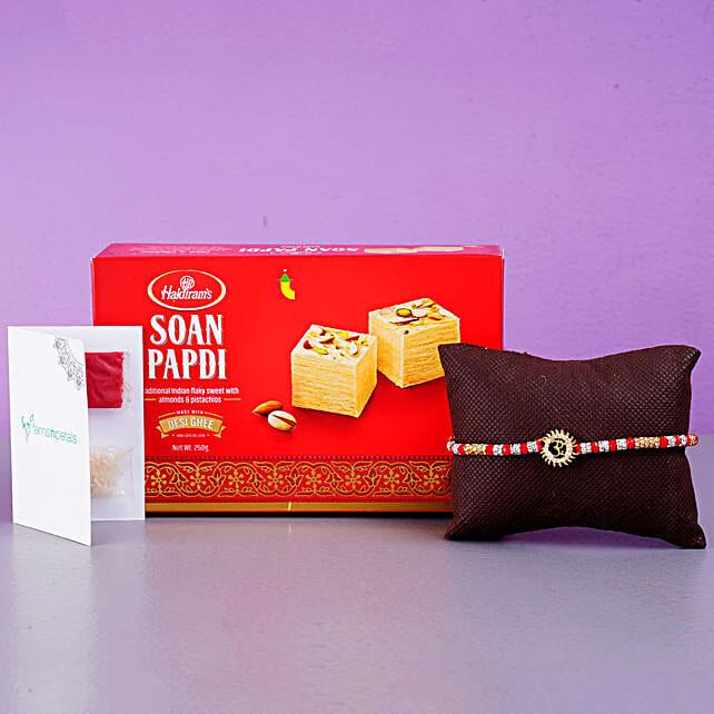 Om Bracelet And Soan Papdi Combo