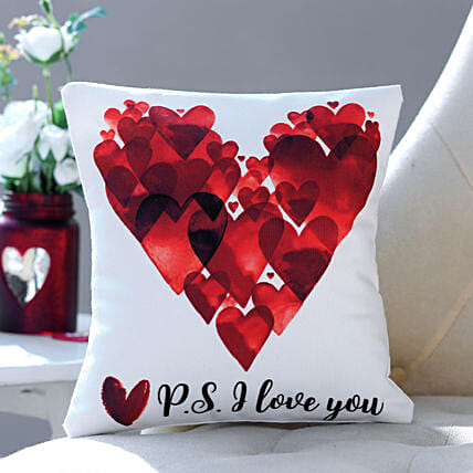 P S I Love You Printed Cushion:Gift Delivery in Canada for Men