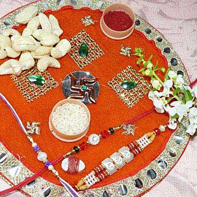Pearl Rakhi Set Of Three Thali With 200gms Cashew