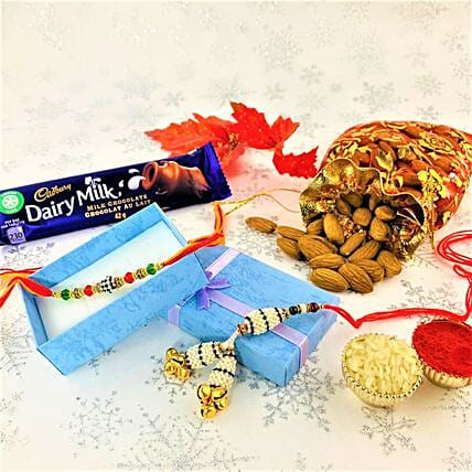 Pearl Rakhi Set With Chocolate And Almonds