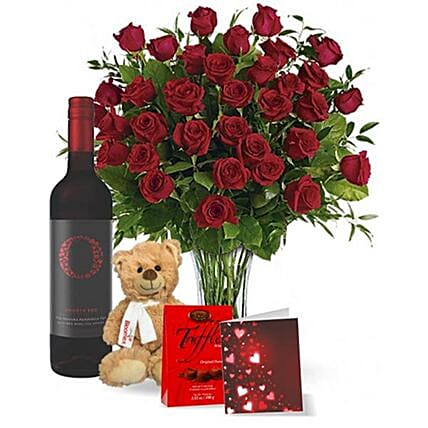 Perfect Valentine With Wine Gift Set