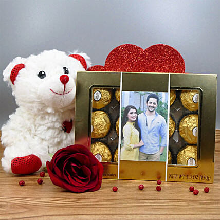 Personalized Chocolate Box With Teddy:Personalised Gifts Canada