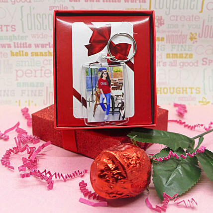 Photo Keychain With Chocolate Rose:Personalised Gifts to Canada