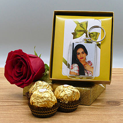 Photo Keychain With Rose And Chocolates