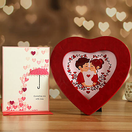 Red Heart Photo Frame And Love Card