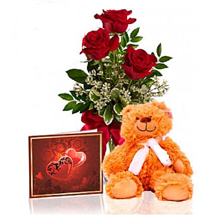 Roses N Teddy Combo:Send Flower Bouquet to Canada